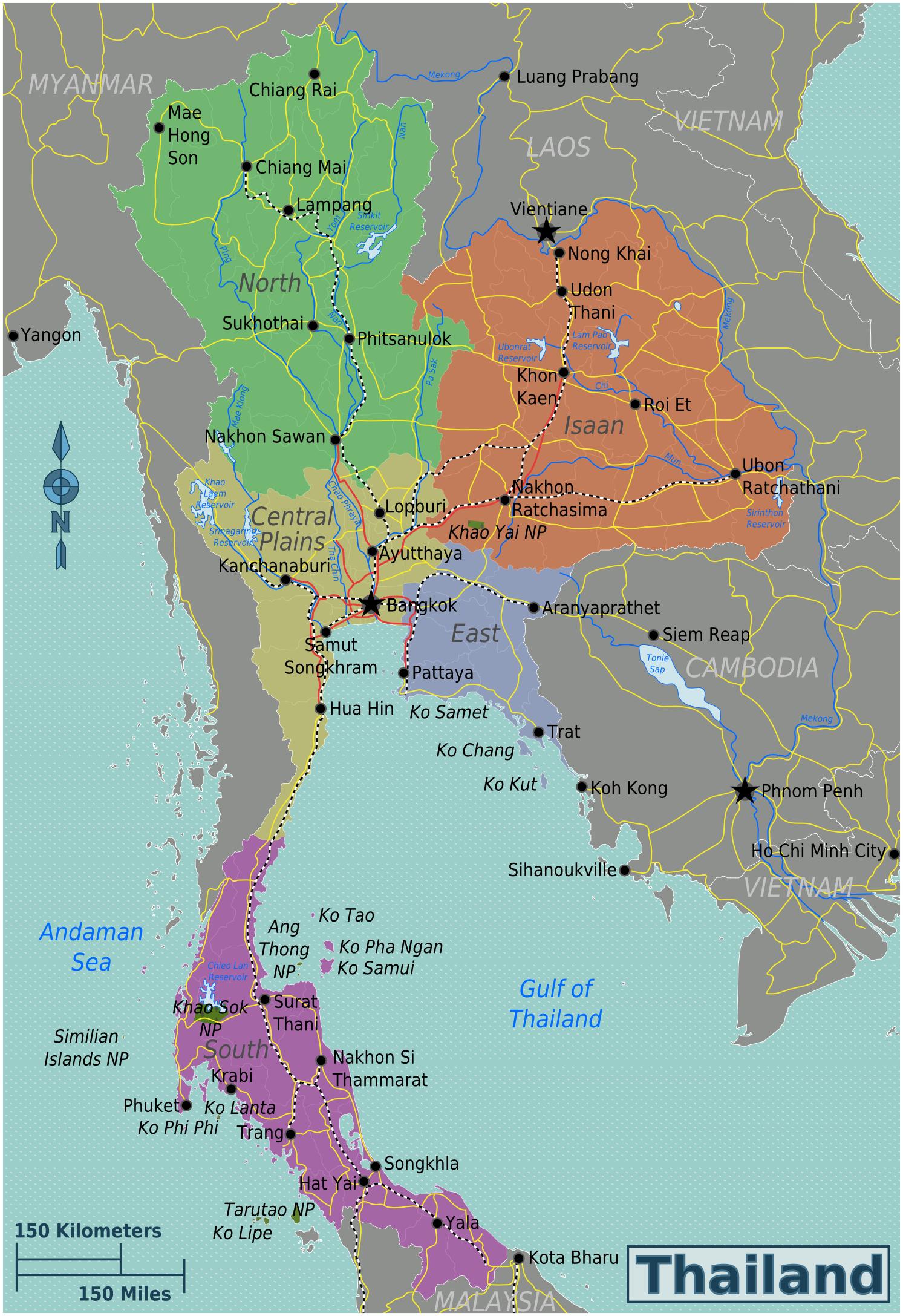 Karte Regionen Thailand